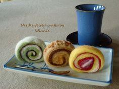Needle felted food Swiss rolls by FunFeltByWinnie on Etsy, $22.00