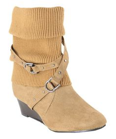 Another great find on #zulily! Tan Sweater Boot by Anna Shoes #zulilyfinds