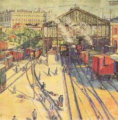 Estación del Norte (1918). está pintada con temple y óleo sobre un lienzo que mide 130 por 120 cm. Se expone en el Museo de Albacete. Benjamín Palencia.