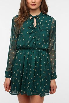 I must have this!  Lucca Couture Chiffon Polka Dot Shirtdress  #UrbanOutfitters