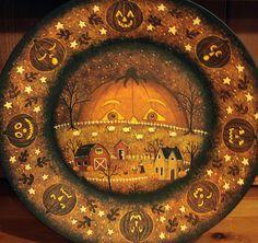 Original Halloween Folk Art  Hand Painted Plate  by Ravensbend, $38.00