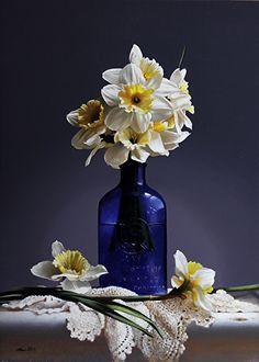 DAFFODILS/ BLUE BOTTLE by Larry Preston Oil ~ 19.25 x 14