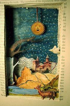Entire colorful scene carved into a book.