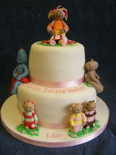 2 tier cake with Lily's favourite characters from In the Night Garden