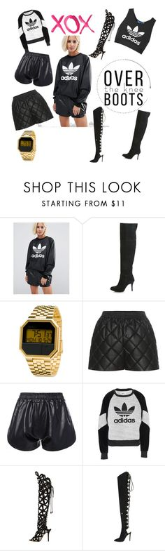 """""""leather shorts"""" by jaudonr on Polyvore featuring adidas, Topshop, Nixon, STELLA McCARTNEY, adidas Originals, GALA, Sophia Webster and Alexandre Vauthier"""