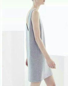 Grey minimalist wool dress by COS