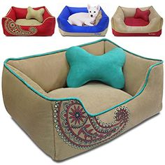 Blueberry Pet Microsuede Pet Bed Recyclable & Removable Stuffing w/YKK Zippers Machine Washable Heavy Duty Overstuffed Beds for Cats & Dogs 25 x 21 x 10 Champagne Beige Embroidered Paisley