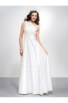 A-Line One-Shoulder Long White Prom Evening Formal Party Dresses ED010583