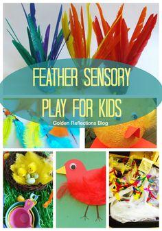 6 fun feather sensory play ideas for kids. www.GoldenReflectionsBlog.com