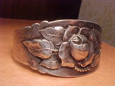 PEER SMED ARTS & CRAFTS STERLING REPOUSSE CUFF-worked for Tiffany-Arts and Crafts