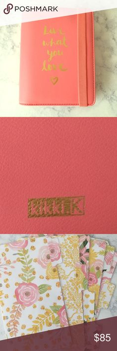 Kikki K Medium Live What You Love 2016 Planner Kikki K Medium Live What You Love 2016 Planner - watermelon color with gold hardware. Comes in original box with 6 laminated/double-sided dividers; also comes with unused/undated kikki k inserts and tight rings. kikki k Accessories