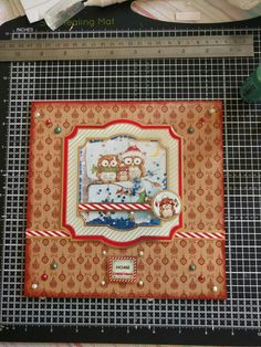 """Hunkydory Crafts Cute Christmas Collection. Owl shaker card with snowfall acetate and liquid pearls. """"owl be home for Christmas"""""""
