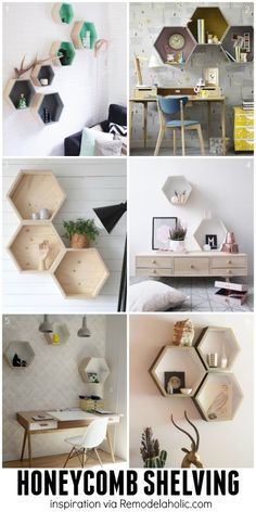 Hexagon/Honeycomb Geometric Shelving Ideas - plus a building plan for the easy geometric shelves!