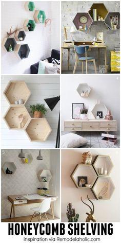 Hexagon/Honeycomb Geometric Shelving Ideas - plus a building plan for the easy geometric shelves! Geometric Shelves, Hexagon Shelves, Display Shelves, Wall Shelves, Living Room Decor, Bedroom Decor, Unique Wall Decor, Home And Deco, Decoration