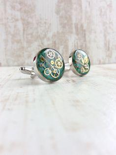 by OneDottyDuck Gentlemans Club, Steampunk, Der Gentleman, Wedding Cufflinks, Blog, Stud Earrings, Turquoise, Trending Outfits, Unique Jewelry
