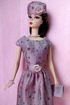 OOAK Vintage Silkstone Barbie Mod Fashion 9pc ROSE SPARKLE Clare's Couture #ClaresCouture