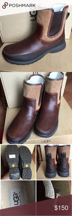 UGG Australia Nigell Brown Men's Waterproof Boots You are purchasing new boots.  These were purchased as a gift, and he did not like them.  They were tried on once in the house on carpet but never worn otherwise.  The stickers are still on the soles, and the original box, Ugg cards, and tissue all come with this purchase.  These are labeled as a waterproof boot for cold weather conditions.  Please, ask if you have any questions or would like any additional photos. UGG Shoes Boots