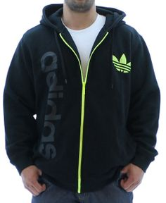 Adidas Originals Big Logo Men's Full Zip Fleece Hoodie Sweatshirt. Click here for discounted Adidas apparel http://www.streetmoda.com/collections/adidas from Streetmoda.com