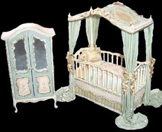 This beautiful new One of a Kind Canopy Crib and Armoire set is hand-dressed, hand-painted, and signed by artist Kelly Curtis!