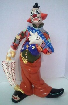 "Vintage Atlantic Mold Ceramic Clown Figurine Patches Umbrella 11 3/4"" Tall"
