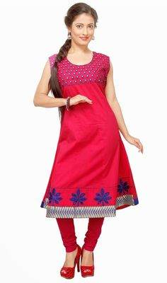 Look stylish with this classic fuchsia shade cotton kurti. The desirable floral patch, lace and resham work a vital characteristic of this attire.#LatestClassicalKurtis