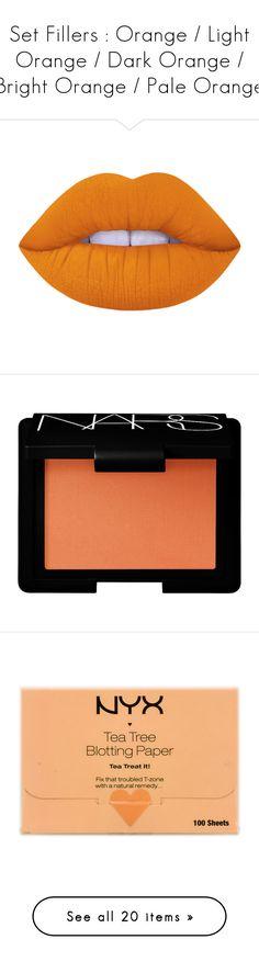 """Set Fillers : Orange / Light Orange / Dark Orange / Bright Orange / Pale Orange"" by idek-babe ❤ liked on Polyvore featuring beauty products, makeup, lip makeup, lipstick, lips, beauty, fillers, lime crime, lime crime lipstick and cheek makeup"