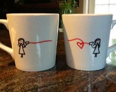 Long distance LOVE - Personalized mugs - set of 2. $30.00, via Etsy.
