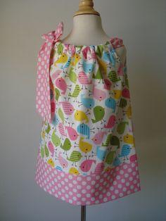 Girls Easter Pillowcase Dress Urban Zoology Chicks, Robert Kaufman fabric custom made by Baby Harrill. $20.00, via Etsy.