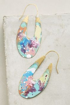 Incredibly gorgeous Mercat Earrings // Paint Splatter Pastels
