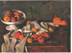 Still life with a fruit dish and apples by @cezanneart