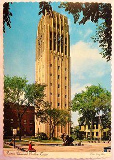 Burton Memorial Carillon Tower University of Michigan Ann #ephemera #postcards #vintagePostCard #annArborMichigan #universityOfMichigan #burtonMemorialCarillonTower