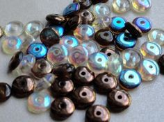 Czech Glass Beads Pressed Glass Brown Rondelle by BeadSoupBeads