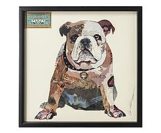 Handgearbeitete Collage The Dog, gerahmt, 61 x 61 cm