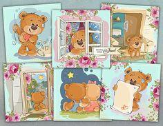 Misie Cards  set of 6  digital collage sheet  Printable