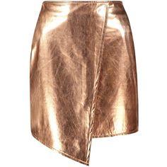 Boohoo Brea Asymetric Metallic Leather Look Mini Skirt | Boohoo (1.060 RUB) ❤ liked on Polyvore featuring skirts, mini skirts, bottoms, brown pleated mini skirt, brown maxi skirt, short pleated skirt, short maxi skirt and mini circle skirt