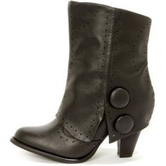 Not Rated Most Wanted Black Pierced and Buttoned Fold-Over Boots $59