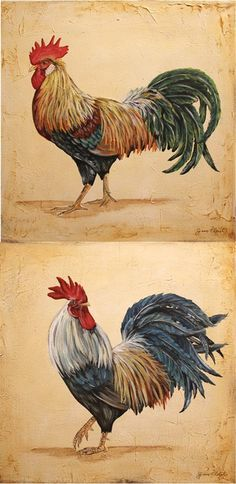 Two beautiful Roosters Rooster Painting, Rooster Art, Rooster Decor, Chicken Pictures, Cow Pictures, Chicken Painting, Chicken Art, Protea Art, Farm Images