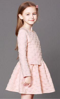 Girl Christmas Dress: Pink Pleated Long-Sleeve Mini Dress for Fall/Winter. Material: Polyester. Age: 5 -13 Years Old #fw17 #fallwinter2017 #kidsclothes #dress