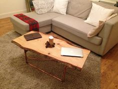 Handmade Traditional modern coffee table with copper pipe legs