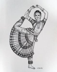 Girl Drawing Sketches, Doodle Art Drawing, Art Drawings Sketches Simple, Girly Drawings, Dance Paintings, Indian Art Paintings, Zantangle Art, Abstract Pencil Drawings, Indian Art Gallery