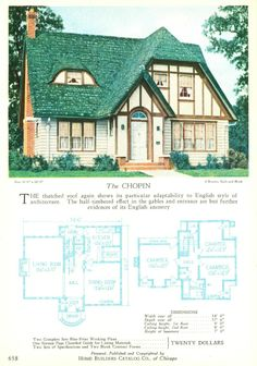 the chopin from the 1927 home builders catalog the blueprints were 20 - Vintage Storybook House Plans