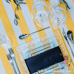 Keep it super simple when decorating your table! Take inspiration from geometric shapes for your next party! | The Party Goddess! #decor #diy #eventplanner #partyplanning Square Plates, Party Food And Drinks, Beach Umbrella, Napkin Folding, Host A Party, Yellow Stripes, Party Photos, Get In Shape, Geometric Shapes