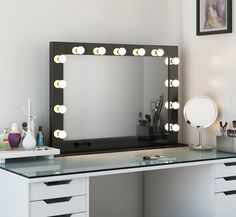 High Gloss Wide LED Hollywood Mirror (Black) | High Gloss Hollywood Vanity…