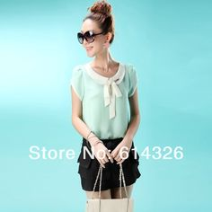 Short Sleeve Bow Chiffon Blouse