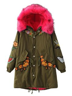 Buy Army Green Embroidered Fleece Lining Faux Fur Hooded Parka from abaday.com, FREE shipping Worldwide - Fashion Clothing, Latest Street Fashion At Abaday.com