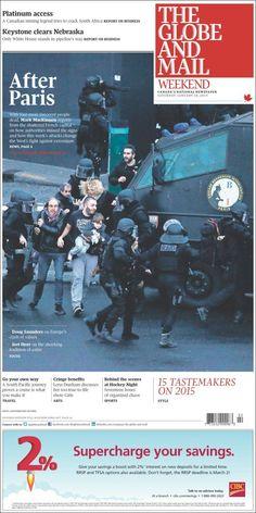 Portada de The Globe and Mail (Canadá). Paris terrorists attacks.