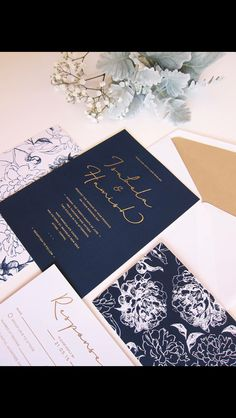 Navy wedding invitations