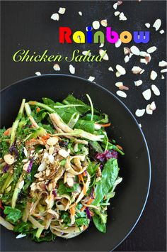 An easy chicken salad mixed with a very savory sauce that makes this healthy appetizer as colorful as a delightful rainbow! Get the recipe now! Vegetarian Recipes Easy, Entree Recipes, Easy Chicken Recipes, Clean Recipes, Salad Recipes, Cooking Recipes, Healthy Recipes, Kitchen Recipes, Banting Recipes