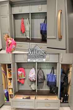 Need mudroom inspiration? Check out this custom #mudroom #storage #bench we installed where an old closet used to be. Backpack hooks, deep drawers for shoe storage, and cleaning pantry featured. Design, products, and installation from Village Home Stores.   |   villagehomestores.com Backpack Hooks, Drop Zone, Mud Rooms, Amazing Spaces, Can Design, Design Products, Shoe Storage, At Home Store, Other Rooms