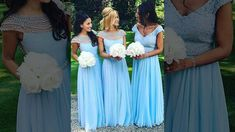 Red A-line Chiffon Tulle Pearl Detailing Long Bridesmaid Dresses - Milly...